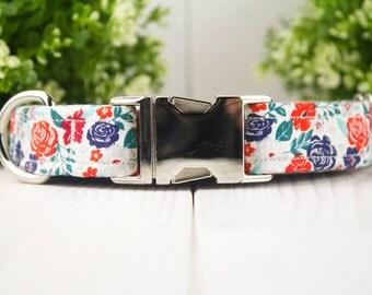 Floral Metallic adjustable Dog Collar w/ Metal Buckle