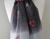 Black Infinity Scarf with pink and grey roses and sparkles - Long and light weight for any season