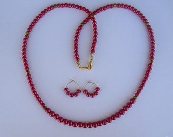 Fuschia pink beaded necklace with matching pierced earrings - # 458