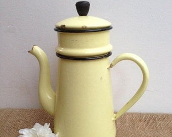 French Vintage, Coffee Pot Yellow, 1960s, Mid Century, Home Decor, Yellow Table Decor, Kitchenalia, Coffee table, French Country
