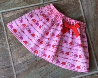 SALE, Baby Girl Valentine Outfit, Girl Valentine Skirt, Lovebug Skirt, Red and Pink Valentine Skirt, Handmade, ONE 18 mo. Available