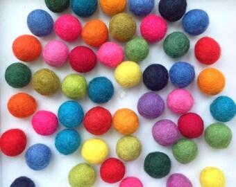 Felt Balls, Multicolor,  1cm or 2 cm. Wool felt beads. 100% Wool  Beads. Pom poms for crafting, mobile, garland, toys.