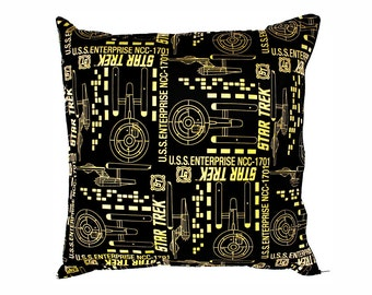 Star Trek USS Enterprise Cushion. Geeky home decor for the sci-fi and classic movie lover.