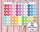 77 Dollar Sign Icon Stickers D-23 - Perfect for Erin Condren Life Planners / Journals / Stickers.