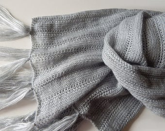 Knitted scarf, grey scarf, light-grey scarf, grey wrap, long wide scarf, mohair scarf, lace wrap, leightweight scarf, knitted womens scarf