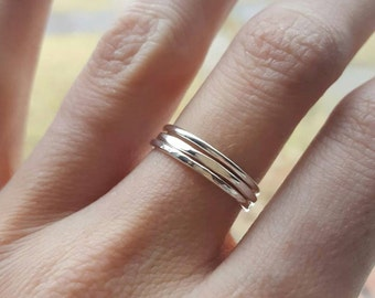 Silver stacking rings set (THREE RINGS); sterling silver rings; stackable rings; boho rings; simple silver rings