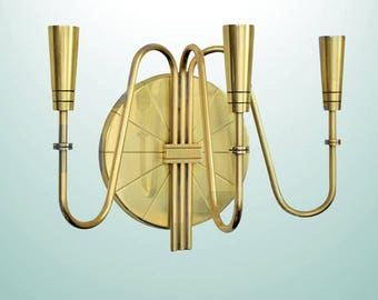 Tommi Parzinger for Dorlyn Silversmiths Mid-Century Modern Brass Wall Candle Sconc