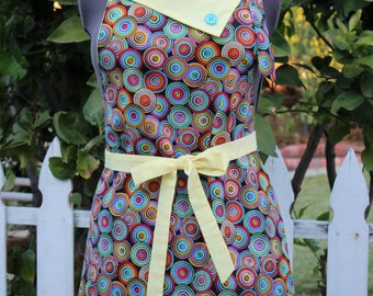 Colorful Full Apron,  Circles of Color, Women's Apron, Vintage Inspired Apron, Retro Style Apron, GladstoneCottage