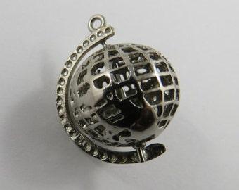 Mechanical Globe That Revolves Sterling Silver Charm or Pendant.