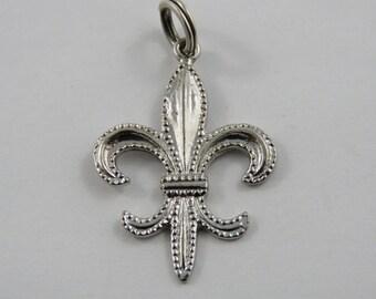 Fleur De Lys Sterling Silver Charm of Pendant.