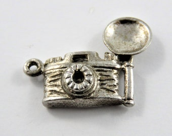 Flash Bulb Camera Sterling Silver Charm of Pendant.