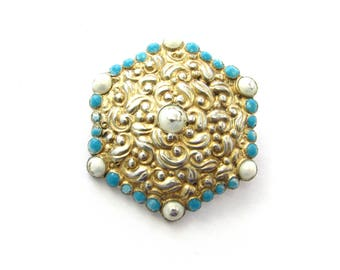 Antique Gorham Sterling Silver White + Turquoise Enameled Hexagonal Shield Pin Brooch
