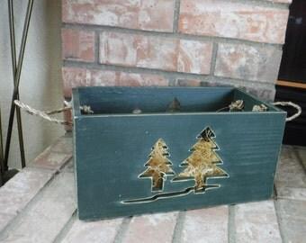 Wood Storage Box, Wood Cabin Theme Box, Large Wood Container, DVD Storage  Box