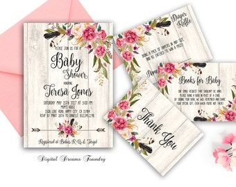 Floral Baby Shower Invitation Printable Boho Baby Invitation Bohemian Baby Invitation Rustic Baby Invitation Baby Girl Shower Invitation