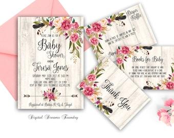 Floral Baby Shower Invitation Printable Boho Baby Invitation Bohemian Baby Invitation Rustic Baby Invitation Baby Girl Shower Invitation