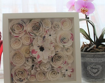 White and Pink Handmade Framed Paper Roses Bouquet