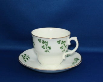 Arklow Irish Bone China Shamrock Teacup and Tea Cup Saucer Made in the Republic of Ireland