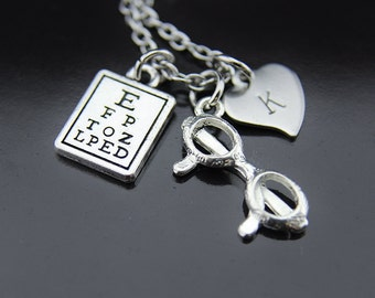 Silver Eye Chart Charm Necklace Reading Glasses Charm Eye Care Necklace Vision Gifts Optometry Gifts Eye Doctor Gifts Optometrist Gifts