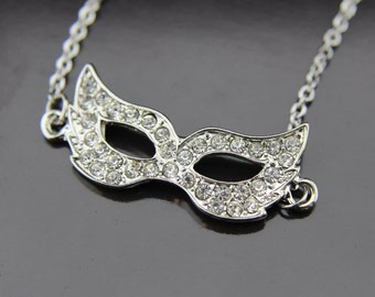 Silver Masquerade Mask Charm Necklace Masquerade Mask Pendant Mask Necklace Mask Charm Necklace Personalized Necklace Customized Jewelry