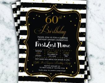 Birthday invite, Digital Surprise Birthday Invite, Black and white, Gold and black, Birthday