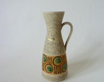 Handle vase, flower vase, ceramic vase, brand Jasba, west german pottery / vintage 1960s