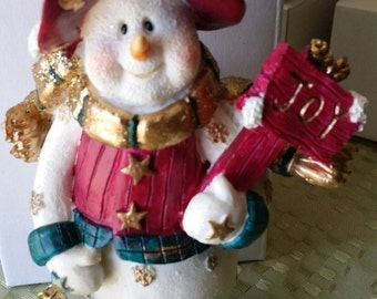 Christmas decoration Snowman holding Joy sign and star Xmas statue B Vintage