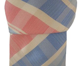 TM LEWIN Men's Tie Pink White & Blue Check