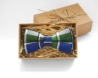 Blue Green Bow tie, Checkered bow tie, Wedding Bow Tie, Blue Mens Bow Tie, boys braces, Green bow tie, mens necktie, boys bowties, groom tie