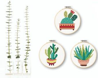Mini Cactus Cross Stitch Set Mini Succulent Cross Stitch Pattern Download Mini Cross Stitch Colorful Cacti Succulent Decor Cactus Pattern