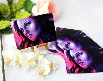 Postcard Set Starkid - Postcard Starkid - Postcard Purple - Postcard Stars Woman -  - woman wall dekor - Violet print - Galaxy Postcard