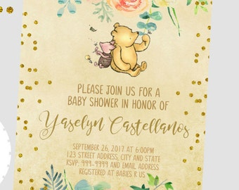 50% off Winnie the Pooh Baby Shower Invitation, Winnie Shower, Winnie the Pooh Invitation, Back included- printed