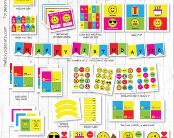 EMOJI PARTY Printable Package, Emoji Party Decorations, Emoji Printables | Instant Download, Edit text in Adobe Reader, Print at Home
