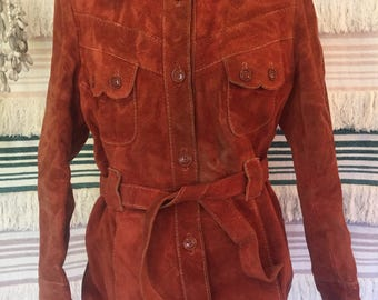 Vintage 70s suede leather coat festival boho cowgirl