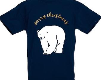 Kids Merry Christmas Prowling Polar Bear Christmas Jumper girls / boys