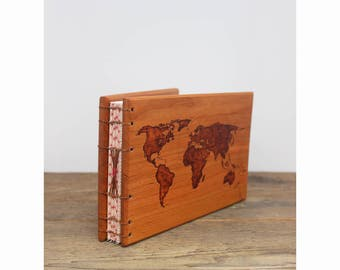 Travel Journal - Black Cherry Wood Covered Adventure Journal - 8x6 World Map Woodburned Cover - Gift for Traveler - Personalized Gift
