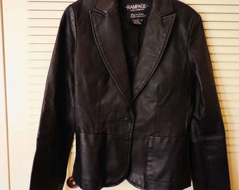 JACKET, LEATHER, WOMAN'S, Real Leather, Black coat, Black leather Jacket, Blazer, Sports Jacket, Excellent condition, Small. Vintage