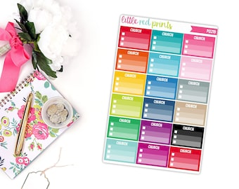 Church Checklist Planner Stickers for the Erin Condren Life Planner, Checklist Sticker, To Do Sticker - [P0219]
