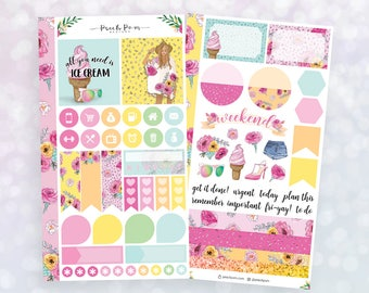 Summer Ice Cream - Personal Size Planner Sticker Kit