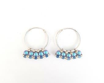 Littles hoops iridescent blue