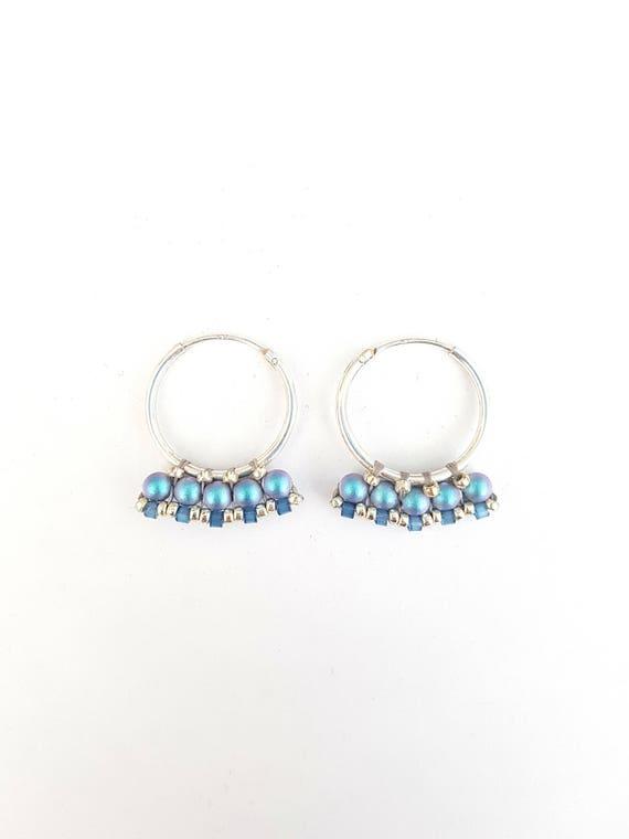 Littles hoops iridescent blue