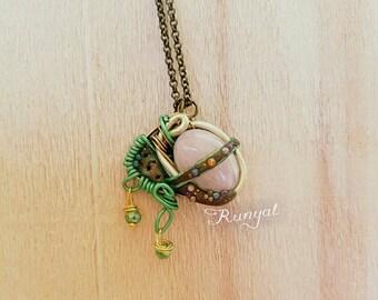 Wire Rose Quartz pendant