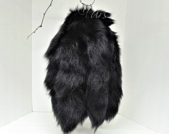Black Fox Tail Keychain