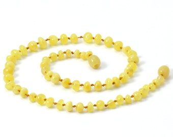 """Baltic Amber Baby Necklace, Available in 12.5"""" Length, Milky / Butter Color, Made from Polished Baroque Baltic Amber Beads"""
