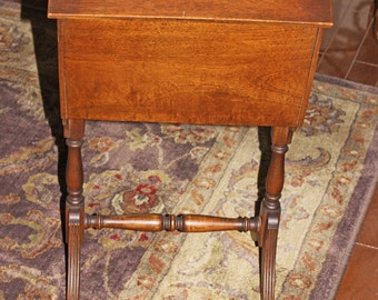 Lidded Storage Stand Circa 1920s Mahogany Wood The McClellan Mfg. Co. Los Angeles Rich Finish Very Good Vintage Condition Sewing Knitting