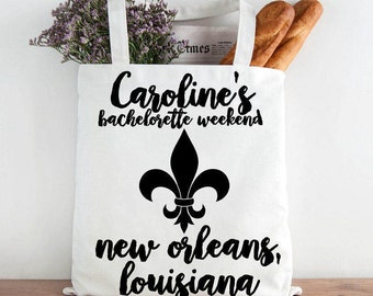 Custom New Orleans Bridal Tote, Custom Bachelorette Party Tote, Bride's Tote