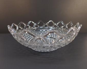 Vintage Imperial Glass Open Lace Diamond Serving Bowl