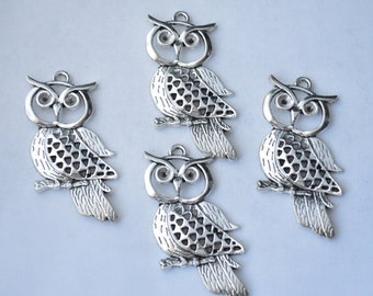2 Pcs Large Owl Charms Owl Pendants Antique Silver Tone 54x26mm - YD0409