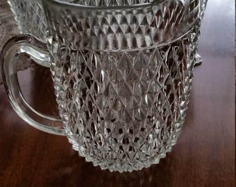 Vintage Indiana Glass Diamond Point Cut Glass Pitcher
