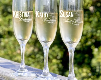 Bridesmaids Gift, 6 Personalized Champagne Flutes, Maid of Honor Gift, Gifts for The Wedding Party, Bridesmaid Gift Ideas, Personalized Gift