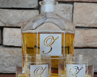 Whiskey Decanter, Monogram Decanter, Groomsman Decanter, Personalized Decanter, Personalized Whiskey Decanter, Groomsmen Decanter Set